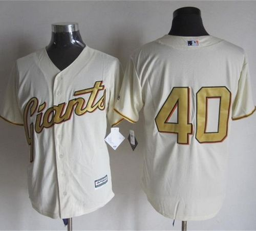 Giants #40 Madison Bumgarner Cream(Gold No.) New Cool Base Stitched MLB Jersey