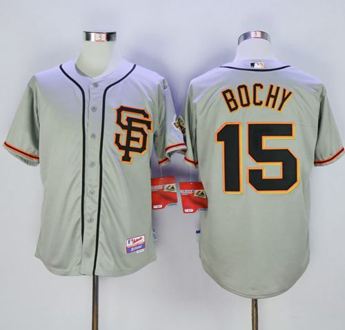Giants #15 Bruce Bochy Grey Cool Base Road 2 Stitched MLB Jersey