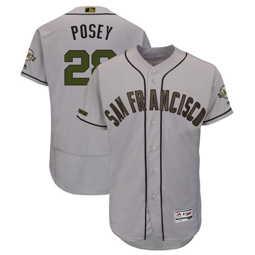 Giants #28 Buster Posey Gray Flexbase Authentic Collection 2018 Memorial Day Stitched MLB Jersey