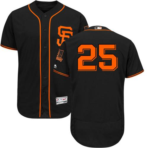 Giants #25 Barry Bonds Black Flexbase Authentic Collection Alternate Stitched MLB Jersey