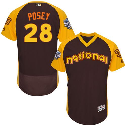 Giants #28 Buster Posey Brown Flexbase Authentic Collection 2016 All-Star National League Stitched MLB jerseys