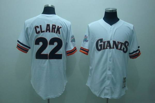 Mitchell and Ness 1989 Giants #22 Will Clark Stitched White Throwback MLB Jersey