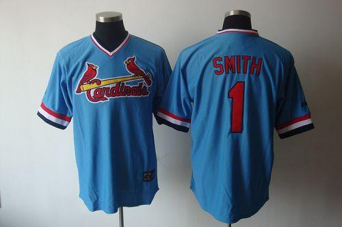 Cardinals #1 Ozzie Smith Blue Cooperstown Throwback Stitched MLB Jersey