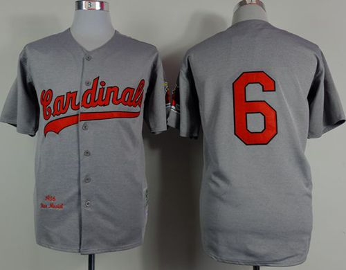 Mitchell And Ness 1956 Cardinals #6 Stan Musial Grey Stitched MLB Jersey