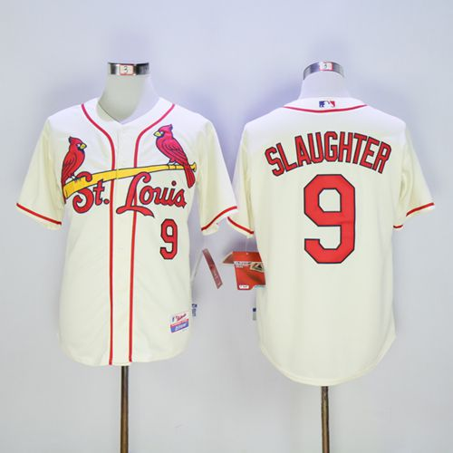 Cardinals #9 Enos Slaughter Cream Cool Base Stitched MLB Jersey