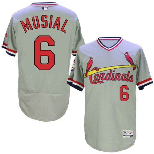 Cardinals #6 Stan Musial Grey Flexbase Authentic Collection Cooperstown Stitched MLB Jersey