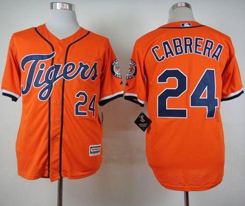 Tigers #24 Miguel Cabrera Orange Cool Base Stitched MLB Jersey