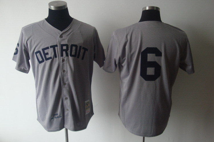 Mitchell And Ness 1968 Tigers #6 Al Kaline Grey Stitched MLB Jersey