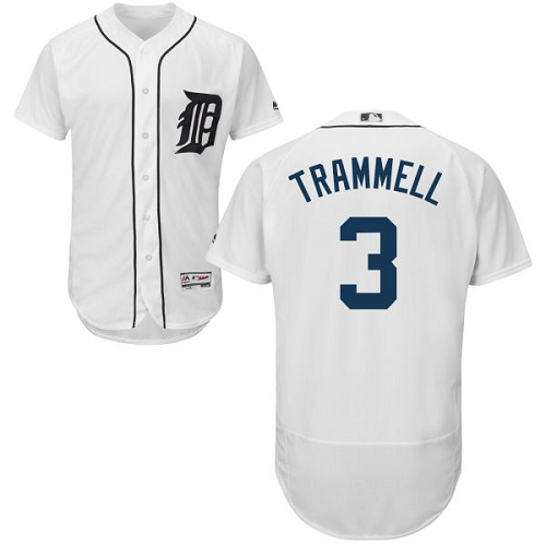 Tigers #3 Alan Trammell White Flexbase Authentic Collection Stitched MLB Jersey