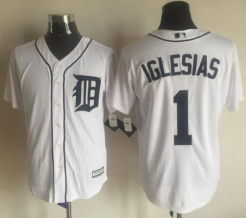 Tigers #1 Jose Iglesias White New Cool Base Stitched MLB Jersey