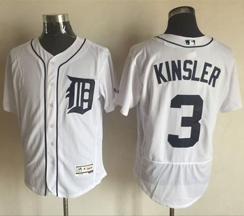 Tigers #3 Ian Kinsler White Flexbase Authentic Collection Stitched MLB Jersey
