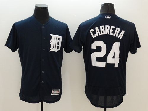 Tigers #24 Miguel Cabrera Navy Blue Flexbase Authentic Collection Stitched MLB Jersey