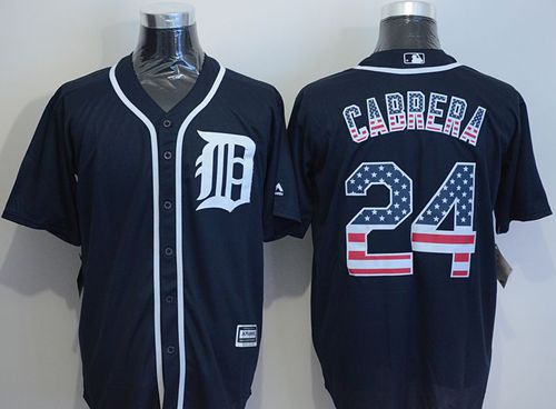 Tigers #24 Miguel Cabrera Navy Blue USA Flag Fashion Stitched MLB Jersey