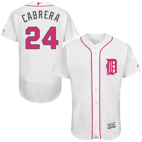 Tigers #24 Miguel Cabrera White Flexbase Authentic Collection Mother's Day Stitched MLB Jersey