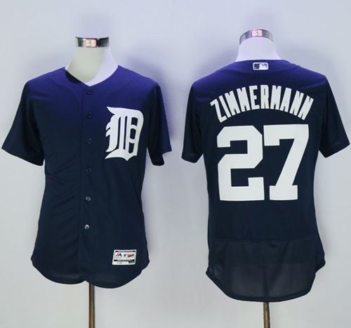 Tigers #27 Jordan Zimmermann Navy Blue Flexbase Authentic Collection Stitched MLB Jersey