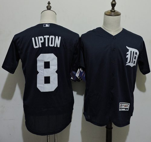 Tigers #8 Justin Upton Navy Blue Flexbase Authentic Collection Stitched MLB Jersey