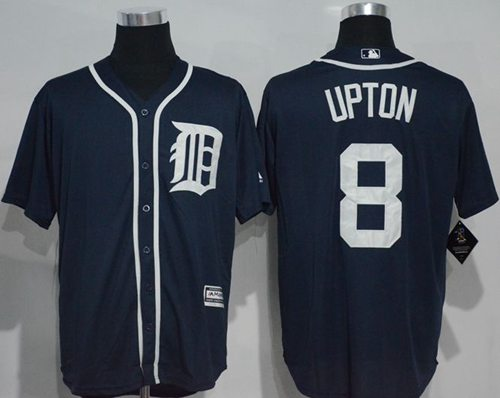 Tigers #8 Justin Upton Navy Blue New Cool Base Stitched MLB Jersey
