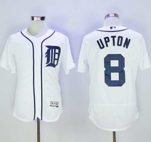 Tigers #8 Justin Upton White Flexbase Authentic Collection Stitched MLB Jersey