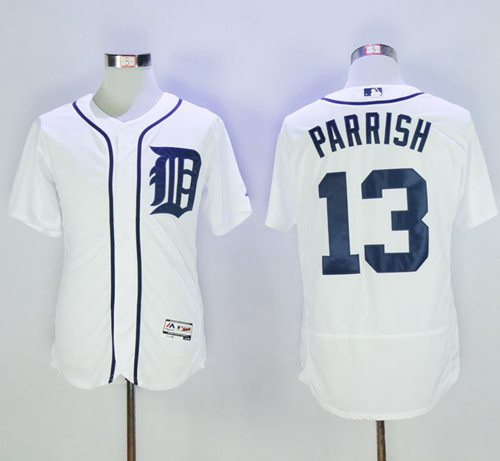 Tigers #13 Lance Parrish White Flexbase Authentic Collection Stitched MLB Jersey