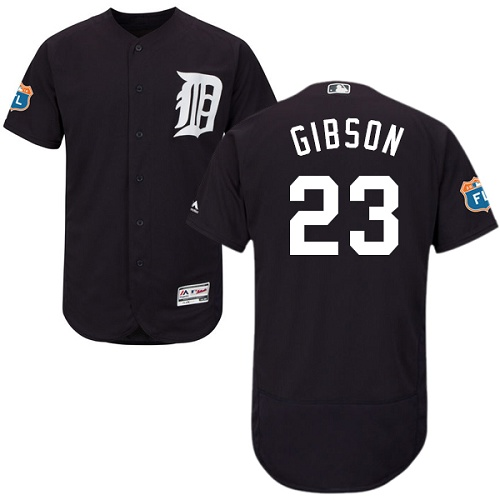 Tigers #23 Kirk Gibson Navy Blue Flexbase Authentic Collection Stitched MLB Jersey