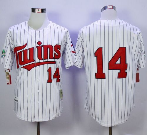 Mitchell And Ness 1991 Twins #14 Kent Hrbek White(Blue Strip) Throwback Stitched MLB Jersey