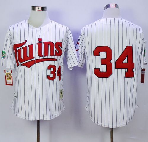 Mitchell And Ness 1991 Twins #34 Kirby Puckett White(Blue Strip) Throwback Stitched MLB Jersey