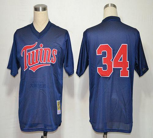 Mitchell And Ness 1991 Twins #34 Kirby Puckett Navy Blue Stitched MLB Jersey
