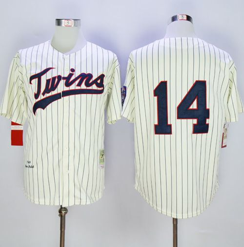 Mitchell And Ness 1969 Twins #14 Kent Hrbek Cream Strip Throwback Stitched MLB Jersey