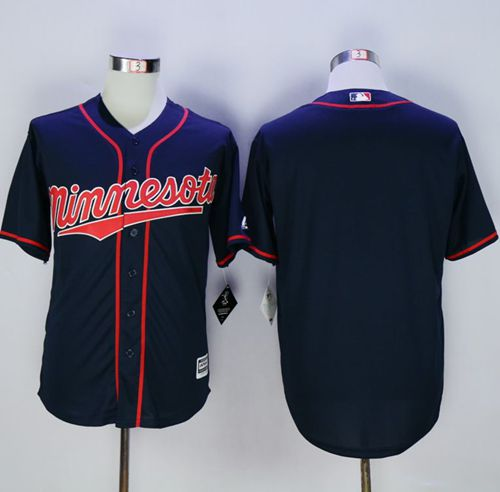 Twins Blank Navy Blue New Cool Base Alternate Road Stitched MLB Jersey