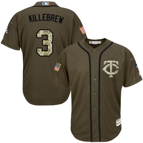 Twins #3 Harmon Killebrew Green Salute to Service Stitched MLB Jersey