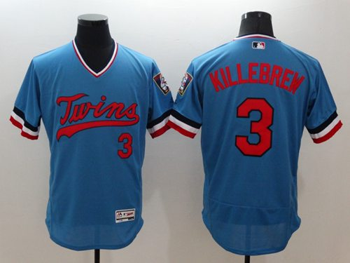 Twins #3 Harmon Killebrew Light Blue Flexbase Authentic Collection Cooperstown Stitched MLB Jersey