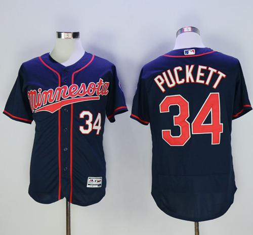 Twins #34 Kirby Puckett Navy Blue Flexbase Authentic Collection Stitched MLB Jersey