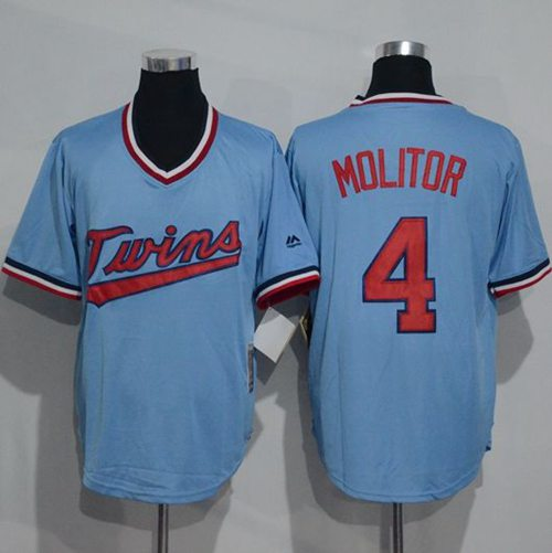 Twins #4 Paul Molitor Light Blue Cooperstown Throwback Stitched MLB Jersey