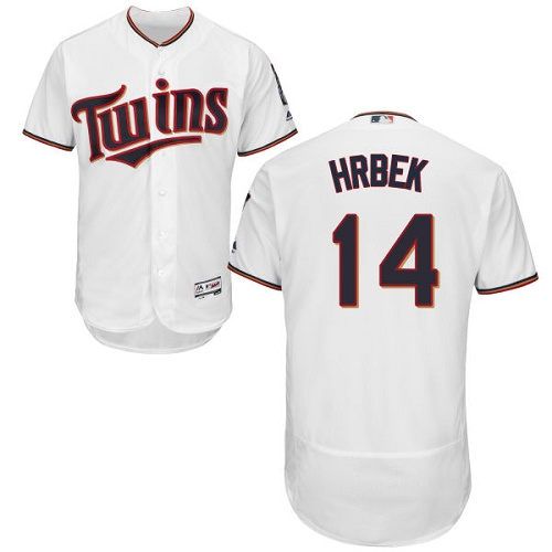 Twins #14 Kent Hrbek White Flexbase Authentic Collection Stitched MLB Jersey