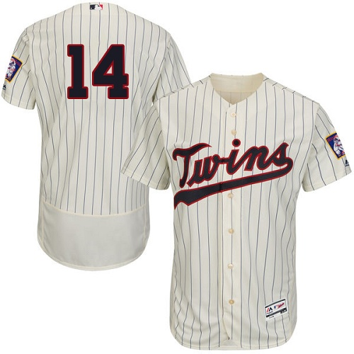Twins #14 Kent Hrbek Cream Strip Flexbase Authentic Collection Stitched MLB Jersey