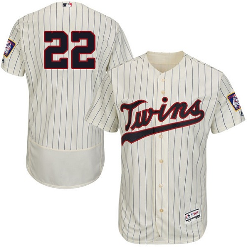 Twins #22 Miguel Sano Cream Strip Flexbase Authentic Collection Stitched MLB Jersey