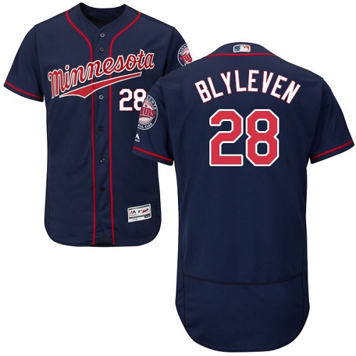 Twins #28 Bert Blyleven Navy Blue Flexbase Authentic Collection Stitched MLB Jersey