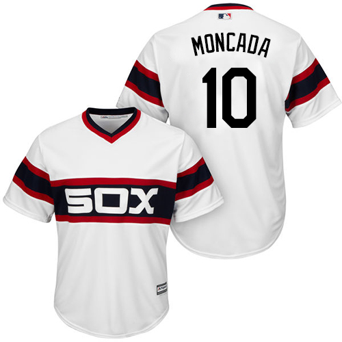White Sox #10 Yoan Moncada White New Cool Base Alternate Home Stitched MLB Jersey