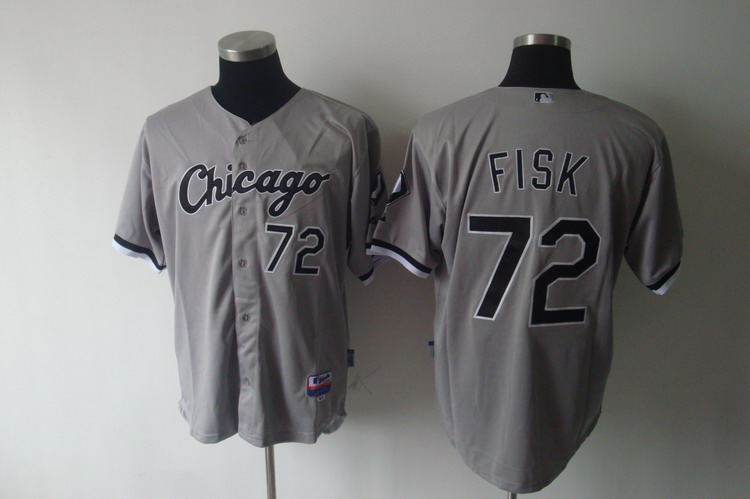 White Sox #72 Carlton Fisk Grey Stitched MLB Jerseys