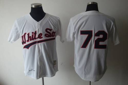 1990 Mitchell and Ness White Sox #72 Carlton Fisk White Throwback Stitched MLB Jersey