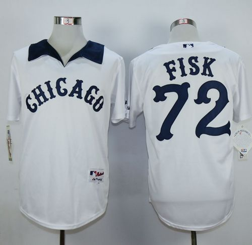 White Sox #72 Carlton Fisk White 1976 Turn Back The Clock Stitched MLB Jersey