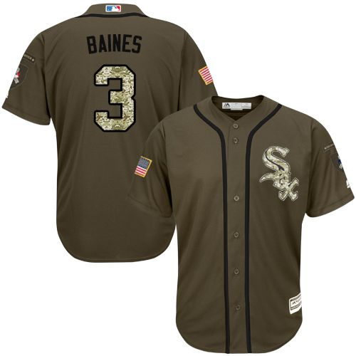 White Sox #3 Harold Baines Green Salute to Service Stitched MLB Jersey