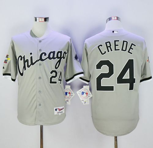 White Sox #24 Joe Crede Grey 2005 World Series Stitched MLB Jersey