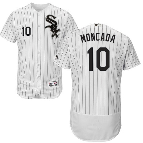 White Sox #10 Yoan Moncada White(Black Strip) Flexbase Authentic Collection Stitched MLB Jersey