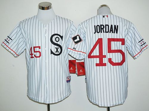White Sox #45 Michael Jordan White(Black Strip) Cooperstown Stitched MLB Jersey