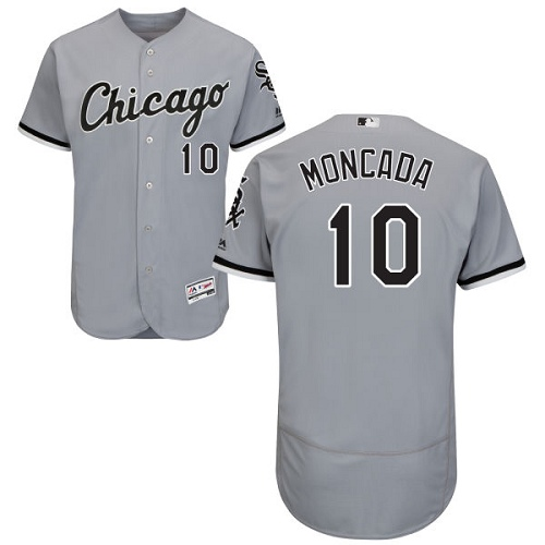 White Sox #10 Yoan Moncada Grey Flexbase Authentic Collection Stitched MLB Jersey