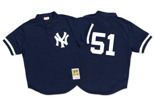 Mitchell And Ness 1995 Yankees #51 Bernie Williams Blue Throwback Stitched MLB Jersey