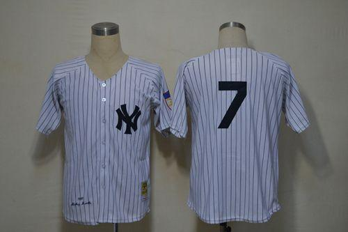 Mitchell And Ness 1951 Yankees #7 Mickey Mantle White Throwback Stitched MLB Jersey
