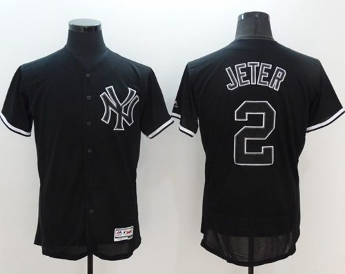 Yankees #2 Derek Jeter Black Fashion Flexbase Authentic Collection Stitched MLB Jersey