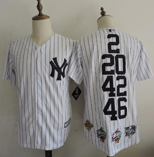 Yankees #2 #20 #42 #46 White Anniversary Throwback Stitched MLB Jersey